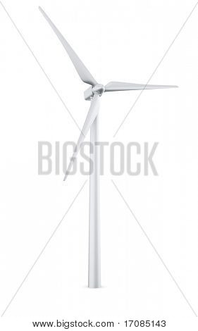 3d rendering of a single wind turbine in a wite studio setup