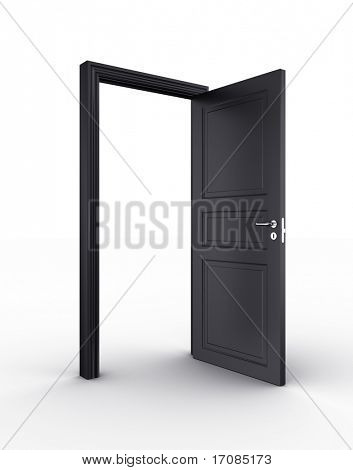 3d rendering of a black open door standing on a white floor