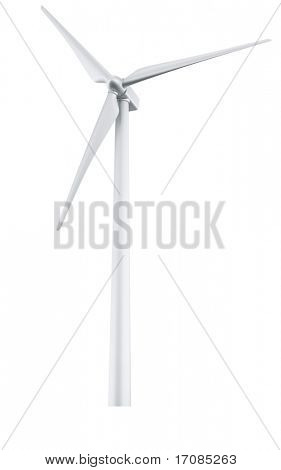 3d rendering of a single wind turbine in a white studio setup
