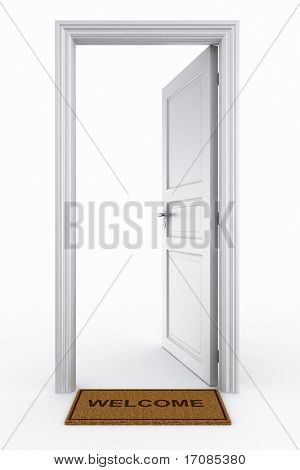3d rendering of an open door with welcome mat