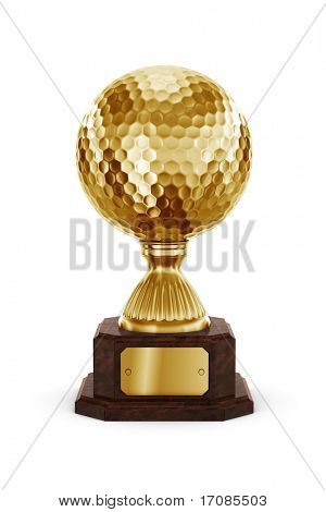 3D-Rendering ein Golf Trophy in gold