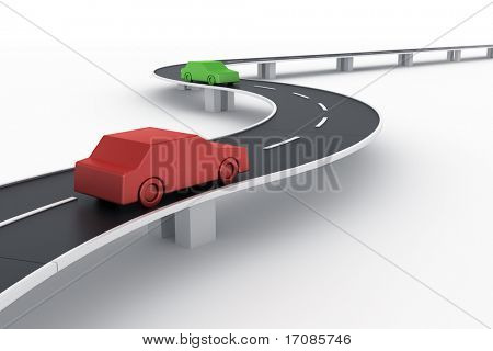 3d rendering of a curved road bridge with cars