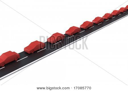 3d rendering of a traffic jam in one side of the road and free on the other lane