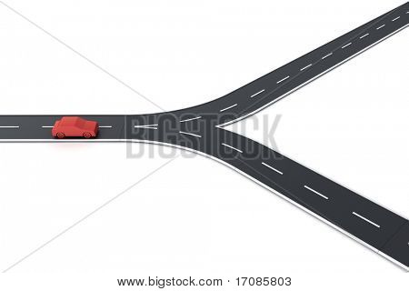 3d rendering of a car at a road splitting
