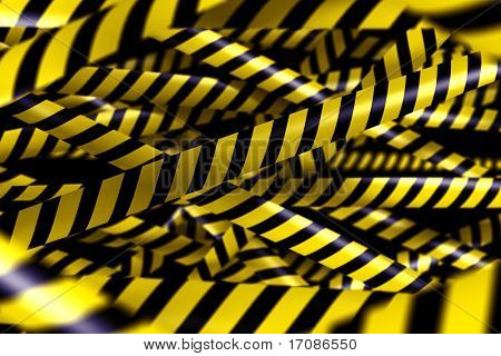 3d rendering of blank caution tape