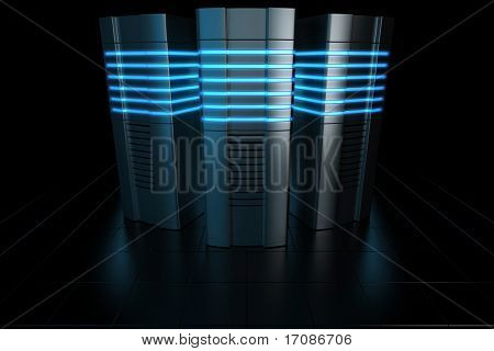 3d rendering of futuristic servers