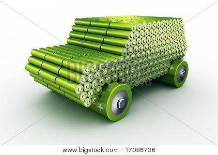 3D Rendering eines Autos gemacht mit Batterien um zu zeigen, das Konzept der Batterie angetrieben Autos
