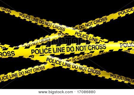 3d rendering of caution tape with POLICELINE DO NOT CROSS written on it
