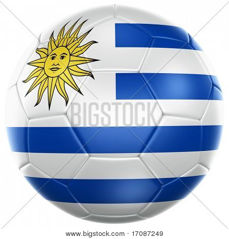 3d rendering of a Uruguayan soccer ball isolated on a white background