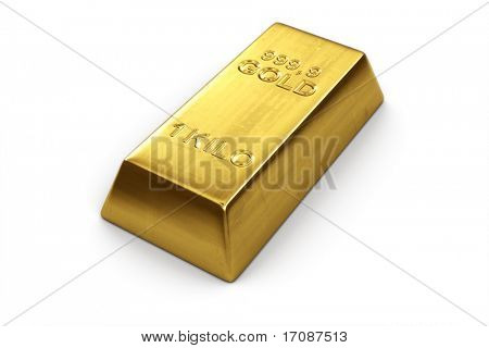 3d rendering of a gold bar