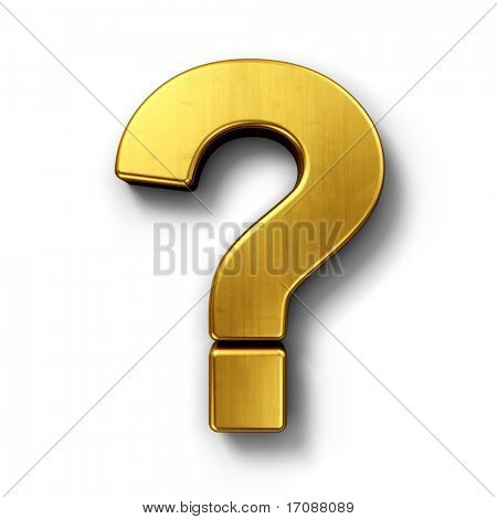 3d rendering of the question mark sign in gold on a white isolated background.