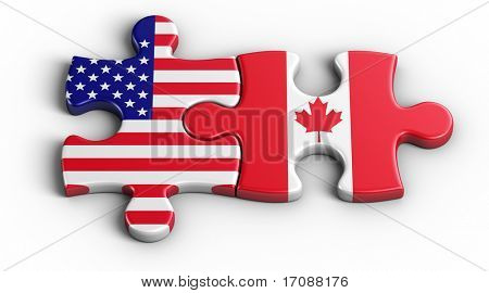 3d rendering of an american puzzle piece and a Canadian