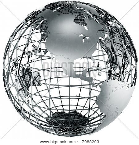 3d rendering of a metal globe showing North america