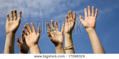 hands of team and the sky