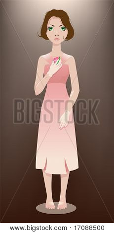 Girl with pink flower.