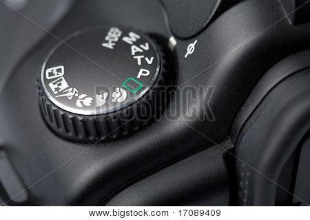 macro of black DSLR camera