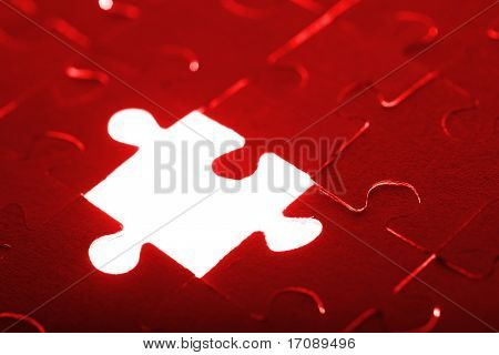 abstract puzzle background with one missing piece