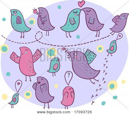 Cute cartoon  birds in love