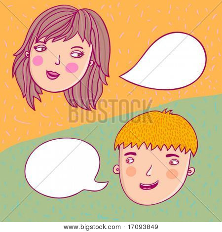guy and girl talking in vector