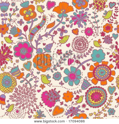 Colorful seamless pattern - birds in flowers - vector illustration