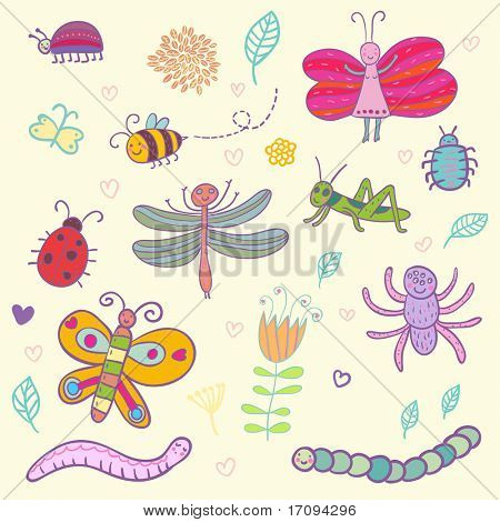 Funny insects - cute set. This illustration in vector - in my portfolio.
