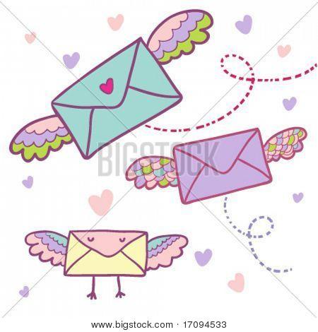 Flying mail symbol - cartoon envelopes in vector