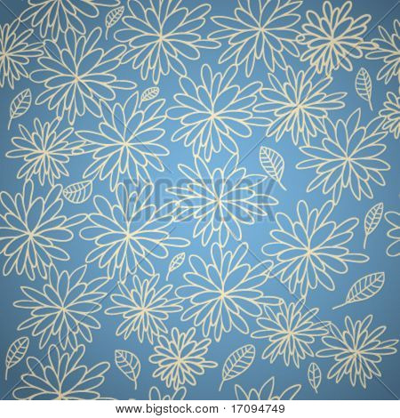 Stylish floral seamless pattern in blue