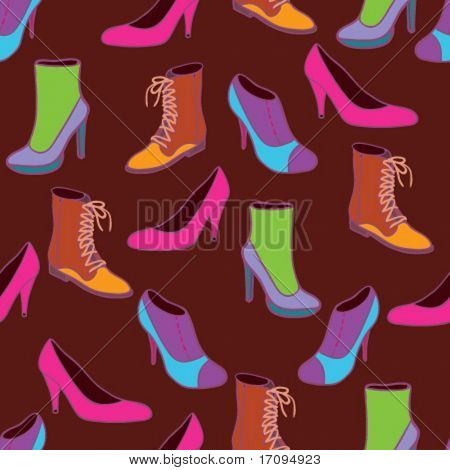 Stylish shoes - colorful seamless vector pattern