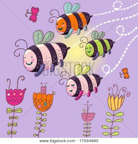 cartoon bees - cute summer illustration in vector