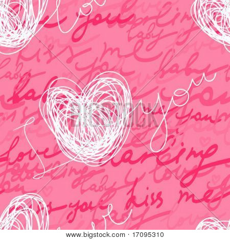 I love you - stylish romantic seamless pattern
