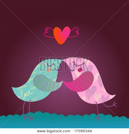 Love design. Two vector textured cartoon birds illustration