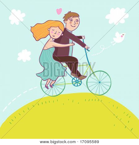 Couple riding a bicycle - summer concept