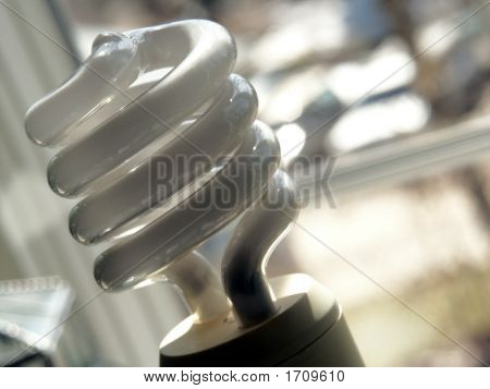 Compact Fluorescent Light Bulb Near Window