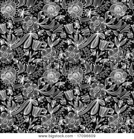 Stylish black and white floral seamless pattern in vector