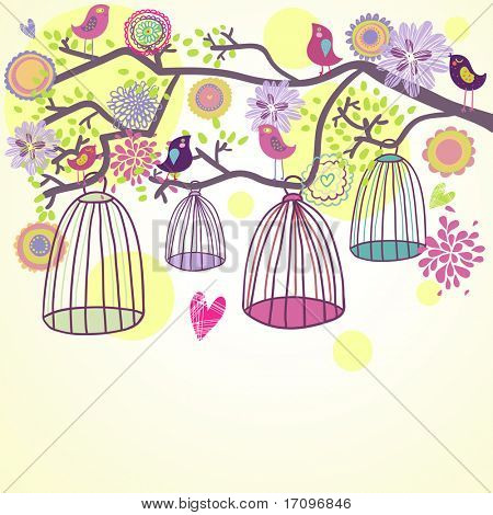 Floral summer composition. Birds out of their cages concept