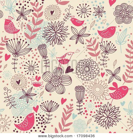 Romantic seamless pattern. Birds in flowers