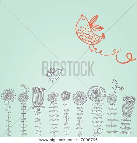 Cartoon birds on flowers