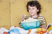 pic of televisor  - adorable child Watching TV in his home - JPG