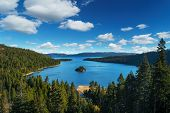 Lake Tahoe in famous California mountains - national park sierra nevada poster