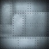 Metal plates with rivets steel background or texture poster