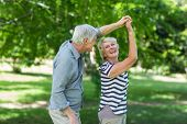 Senior couple dancing in park poster