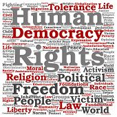 Concept or conceptual human rights political freedom or democracy square word cloud isolated on back poster