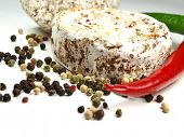 stock photo of penicillium  - fresh cheese with spices on white - JPG
