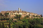 view of the typical south east of france old stone village of saint paul de vence on the french rivi