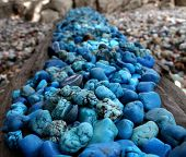stock photo of lapis lazuli  - These blue stones are Turqurenite and Lapis Lazuli - JPG
