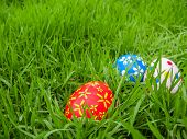 Hand painted Easter eggs hidden on the grass ready for the easter egg hunt traditional play game poster
