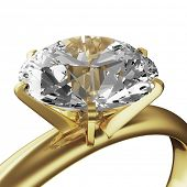 pic of diamond ring  - 3d rendering of a gold diamond ring - JPG