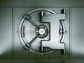 picture of bank vault  - 3d rendering of a bank vault seen straight on - JPG