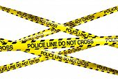stock photo of crime scene  - 3d rendering of caution tape with POLICE LINE DO NOT CROSS written on it - JPG