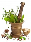 stock photo of crusher  - mortar with herbs isolated - JPG